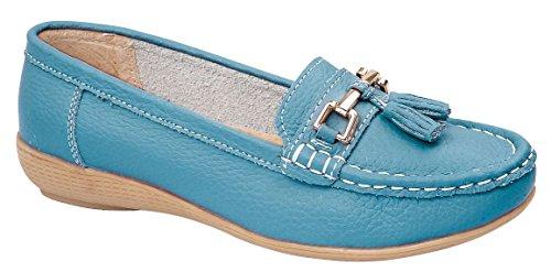 Foster Footwear - Mocasines de Piel para hombre verde azulado
