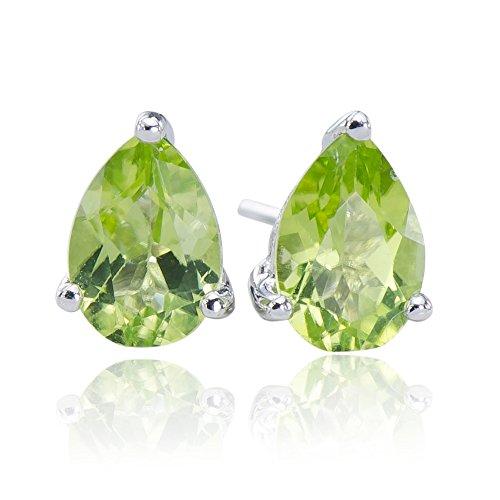 - Flawless Natural Peridot Gemstone 925 Sterling Silver 925 Pear Stud Post Earrings