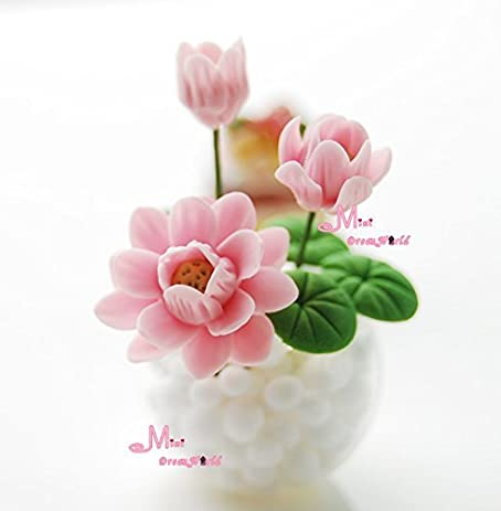 Amazon Free Shipping Handcraft Pink Lotus W Glass Vase Clay