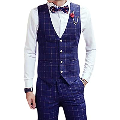 ainr Men's Classic Fit Plaid Printing Suit Vest supplier