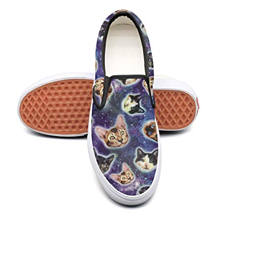 PDAQS Women Galaxy Cats Kitty Loafers Skate Shoes Low top