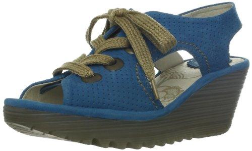 FLY London Women's Ylva Perforated Wedge Sandal,Blue,38 EU/7 M US