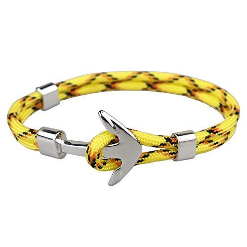 Amazed Punk silver alloy anchor rope CORD bracelet men's women's bracelet jewelry,Yellow