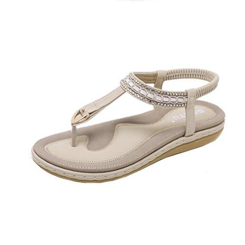 Sandals for Womens, FORUU New Summer Flat Casual Single Soft Rhinestone Shoes (8, Khaki) ()