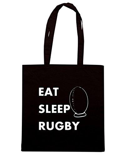 T-Shirtshock - Bolsa para la compra TRUG0101 eat sleep rugby 2 logo Negro