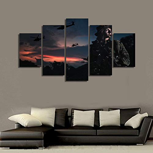 (JYHCZC Canvas Wall Art Pictures Home Decor Living Room 5 Pieces Soldiers Field Camouflage Female Soldier Painting Hd Print Poster)