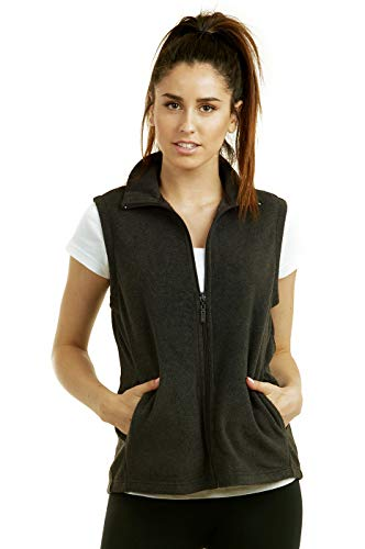 ET TU Women's Zip Up Polar Fleece Vest (L, Charcoal)