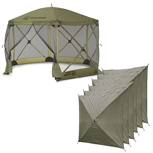 (QUICK-SET Clam Escape Portable Camping Outdoor Canopy Screen & 6 Wind Panels)