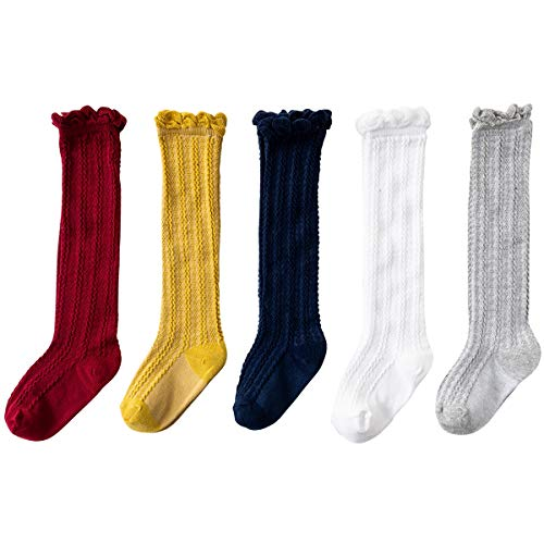 Jastore 5 Pairs Unisex Baby Girl Boy Lace Stocking Toddler Knit Knee High Cotton Socks (3-5 Years, Style -