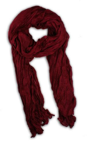 Candy Scarf - Long Candy Crinkle Scarf (Burgandy)