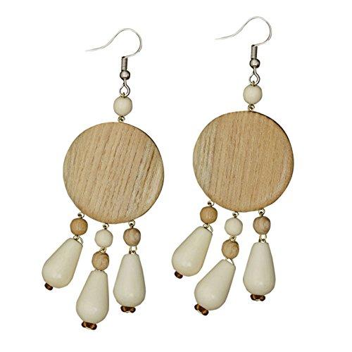 - Wooden Dangles Disc Teardrop Pendants Fish Hook Pierced Ear 3.1