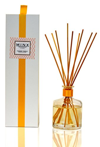 48hr Prime Deal! Mandarin & Tangelo Citrus Aromatherapy Scented Oil Reed Sticks Diffuser GIFT SET by MINX Fragrances | Grapefruit and Peach notes | Great Kitchen Air Freshener (Aroma Diffuser Scented)