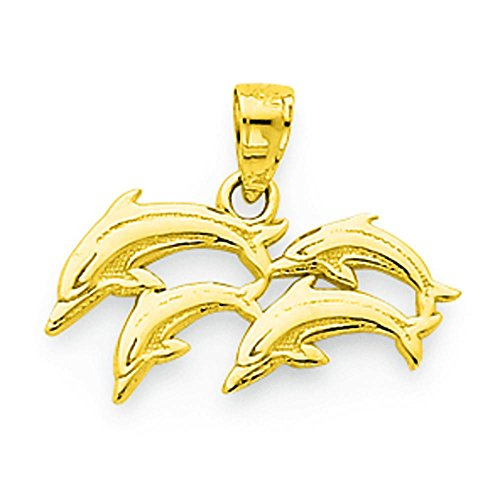 10K Gold Dolphin Charm Pendant Jewelry ()