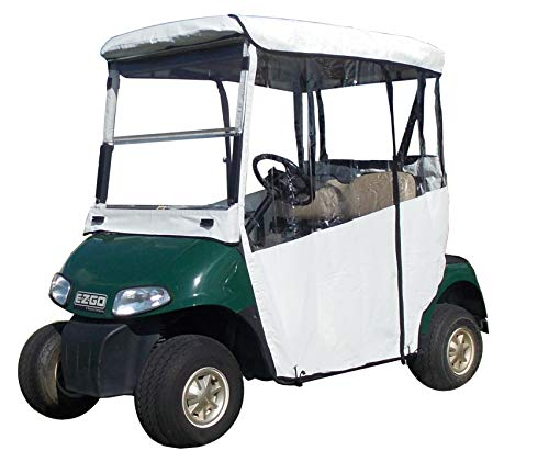 "White Golf Cart Cover – 3-Sided ""Over-The-Top"" Cart Cover for Club Car (DS2000+) –Drivable Golf Cart Cover Enclosure – Marine Grade Vinyl – White Rain Cover for Golfers– Fits Golf Bags, Utility Box -  DOORWORKS GOLF CART ENCLOSURES, G5-3ALV-UFAO"