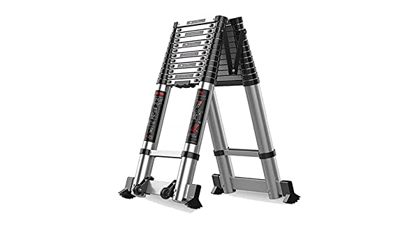 Escalera telescópica Loft - Aluminio Portátil Plegable Un Cuadro Escaleras de extensión para casa, 2.7m / 3.1m / 3.5m / 3.9m / 4.7m / 5.1m, Carga 300kg: Amazon.es: Hogar