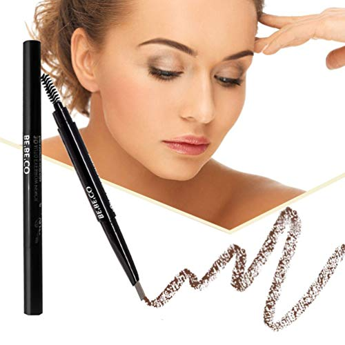 (Long Lasting Sweat Proof Smudge Proof Eyebrow Pencil Waterproof Brow Liner Drawing Eye Brow with Brush Automatic Makeup Cosmetic Tool (Light Brown) )