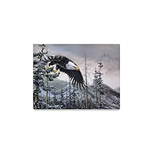 "Modern Painting Art Eagle Flying in The Sky Canvas Print (Frame Also Included)- Measure Size: 16"" x 12""(Small)"