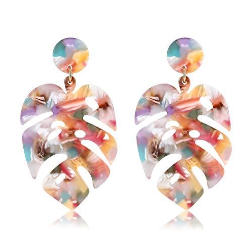 (Acrylic Earrings For Women Girls Statement Palm Leaf Earrings Resin monstera Drop Dangle Earrings Fashion Jewelry (acrylic Floral) )