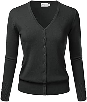 New Women Fashion Basic Long Sleeve V-Neck Knit Sweater Top Cardigan Size S-XL
