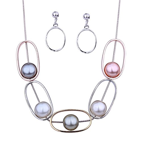DiLiCa Women Statement Oval Pendant Simulate Faux Pearl Bib Necklace and Dangle Earring Jewelry Set (Oval Faux Pearl)