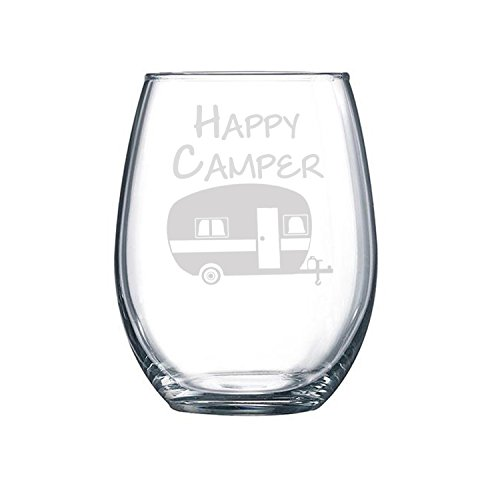 Happy Camper by Fly Low Creations | Funny Stemless Wine Glass | Just add 15 oz of pure happiness, or wine, which is pretty much the same - Making Glass Ornaments Mercury