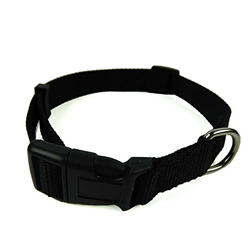 Dog Collar, Pet Durable, Adjustable Nylon 1- Inch by Smizel (Black)