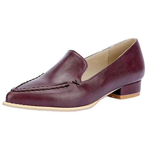 TAOFFEN 464 Block Red Classical Court Low On Casual Women Slip Loafers Heel Shoes Shoes FrF4qwSx