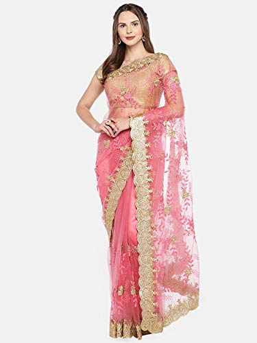 Four Seasons Pink Embroidered Net Saree