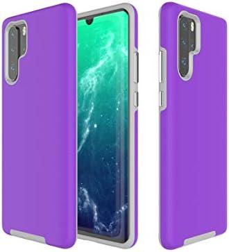 電話用BOYUHIIシリコン保護ケース Huawei社P30ProのためのアンチスリップアーマーテクスチャTPU + PCケース(ブラック) ATCYE (Color : Purple)
