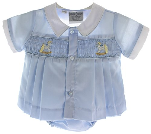 (Boys Preemie Take Home Outfit Blue Diaper Set Rocking Horse)