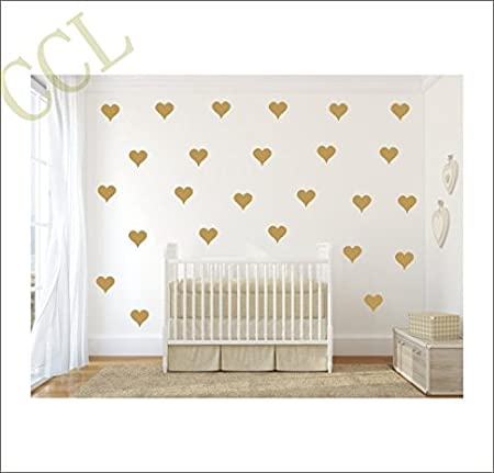little decal decals nursery shaped stickers decor item shipping of gold heart art wall pattern vinyl free metallic set