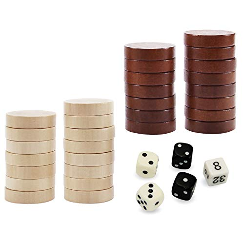ASNEY Wooden Backgammon Pieces, Solid Wood Checker Pieces Set Board Game Table Chips and 5 Dices, Includes Storage Bag ()