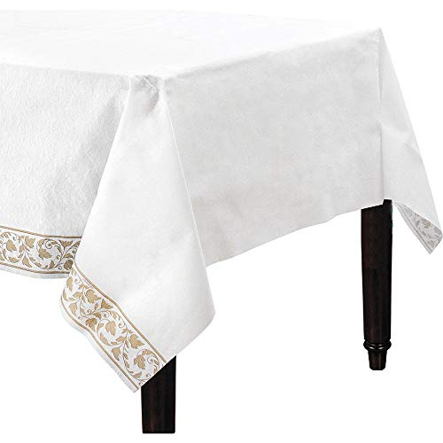 ELEGANI White Gold Scroll Premium Paper Table Cover Wedding Tableware