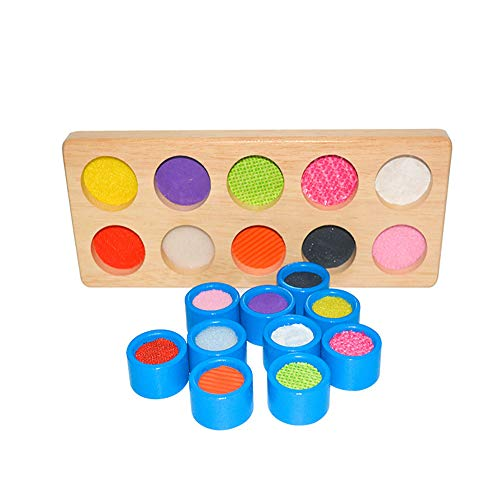 Sensory Wooden Teaching aids Tactile Board Kindergarten Children Toys Touch and Match Board for Kids Sensory Toy Colorful Tactile Search and Match Soft Textures Sensory Memory Game