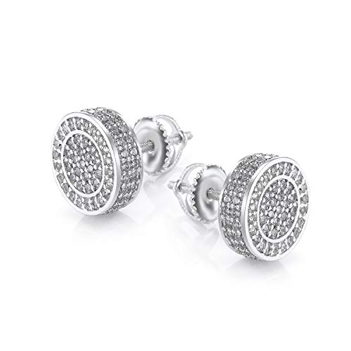 Gold Earrings For Men And Ladies With Screw Back Hip Hop Earrings Men Gold Plated With Cubic Zircon Round White Gold ()