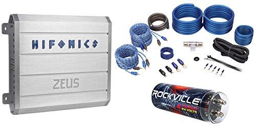 Hifonics Zeus ZRX616.4 600 Watt RMS 4-Channel Car Amplifier+Capacitor+Amp Kit