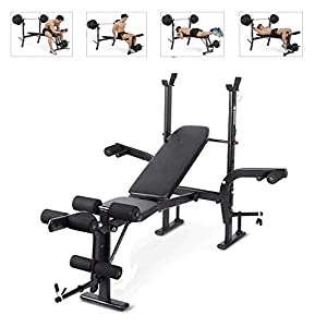 Weight Bench Indoor Multifunctional Home Supine Board Weightlift Barbell Rack Bench Press Strength Training Fitness Equipment,Black(not included Barbell)