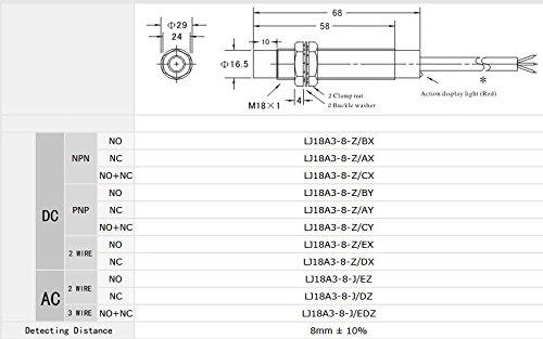 Woljay Inductive Proximity Sensor Switch DC 10-30V PL-05N2 NPN NC 3-wire