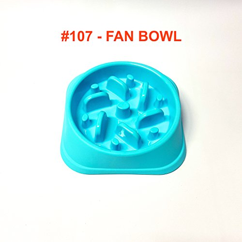 Alpha Dog Series Fun Feeder Slow Feeder Interactive Bloat Stop Dog Bowl (107 - FAN, TEAL BLUE)
