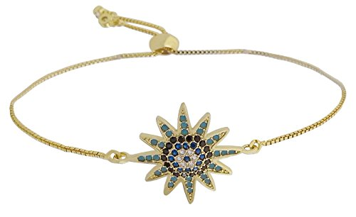 Fashion Metal Women's Snake Chain Sunflower Charm Bracelets with Rhinestones and Multi-colors Gemstones 2 Danglers Ends Ball Clasp Adjustable Length Gold (FM318G) ()