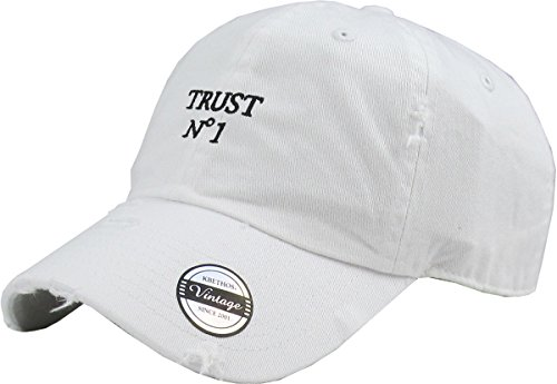 cee0498ff81 KBSV-055 WHT Trust No1 Vintage Distressed Dad Hat Baseball Cap ...