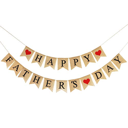 Burlap Happy Fathers Day Banner | Rustic Fathers Day Party Decorations | Fathers Day Family Photo Prop Celebration Gift ()