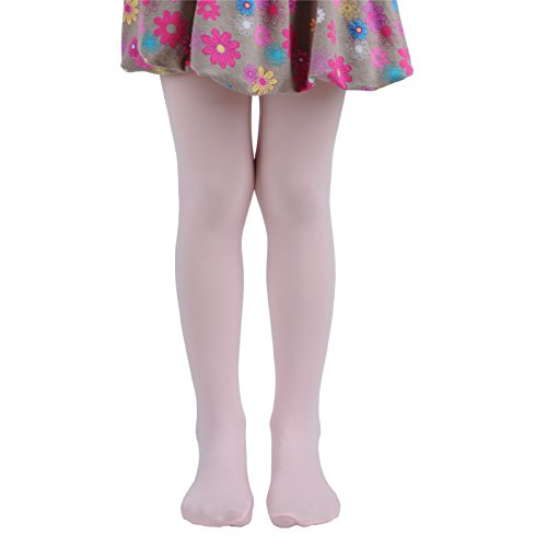 (Leg Elegant Girls Microfiber Soft Opaque Solid Colored Footed Tights (11-13, Pink))