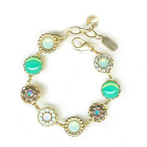 (Clara Beau GreenOpal Spring Swarovski crystal GoldTone Filigree Cluster Bracelet BF146)