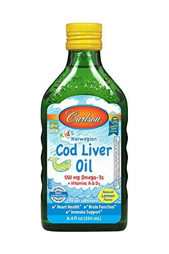 Carlson Cod Liver Oil - Carlson - Kid's Cod Liver Oil, 550 mg Omega-3s, Vitamins A & D3, Wild Norwegian, Lemon, 250 ml