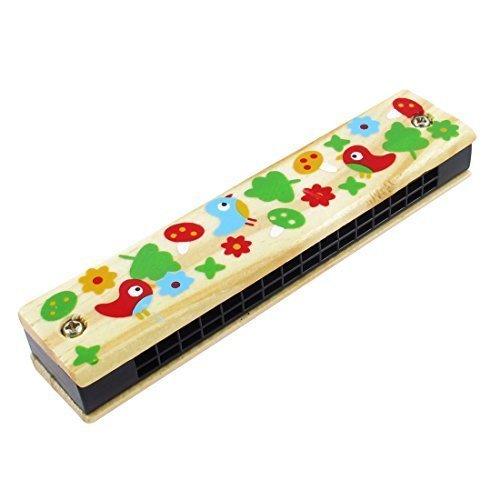 Holz, Blumen, Vögel, 2 Zeilen 32 Loch Kinder-Mundharmonika
