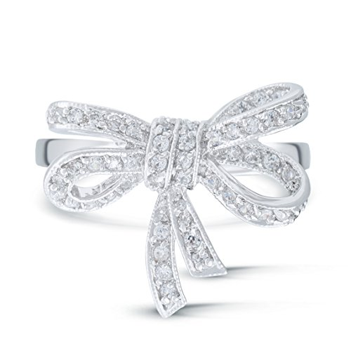 JanKuo Jewerly Vintage Style Ribbon Bow Tie Cubic Zirconia Ring in Gift Box (8)
