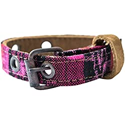 Mayan Pet Collar For Small Size Cats & Dogs (5.75 - 9.75 Inches) Handmade by Hide & Drink :: Tropical Fuchsia