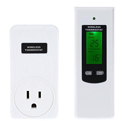 Hense Wireless Remote Control Plug In Thermostat Hydroponic Temperature Indoor Humidity Meter High/Low Temperature Alarm HT21-TS-808