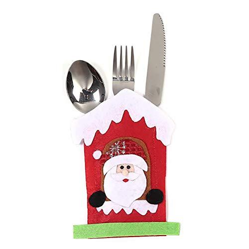 WillowswayW Christmas Snowman Elk Santa Claus Cutlery Pouch Cloth Knife Fork Bag Xmas Dinner Decor - Santa Claus#